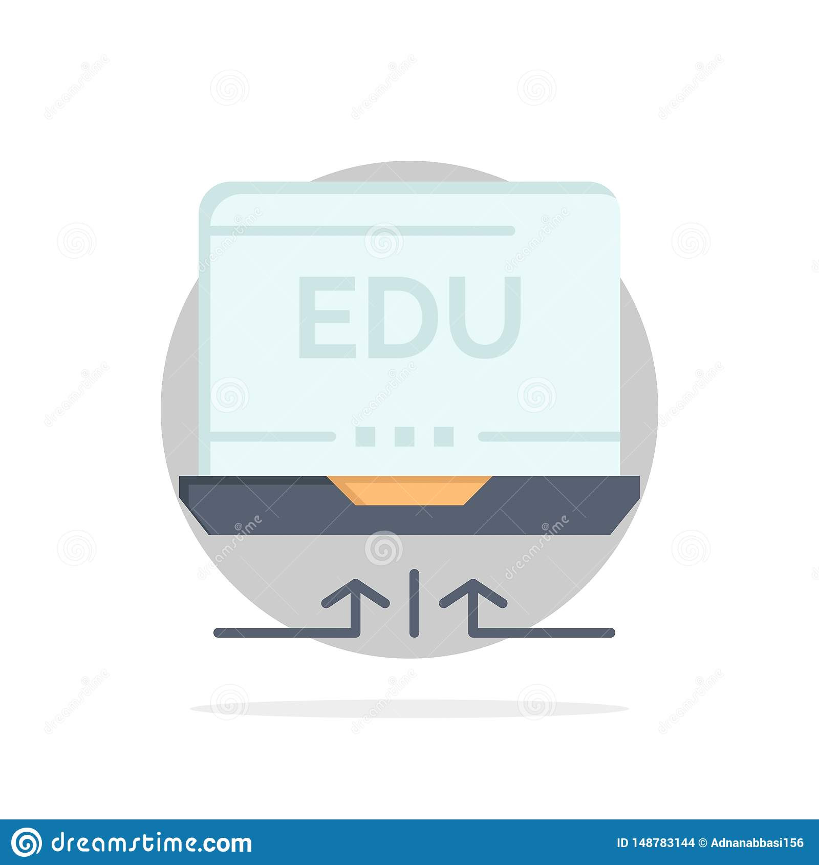 Laptop, Hardware, Arrow, Education Abstract Circle Background Flat color Icon
