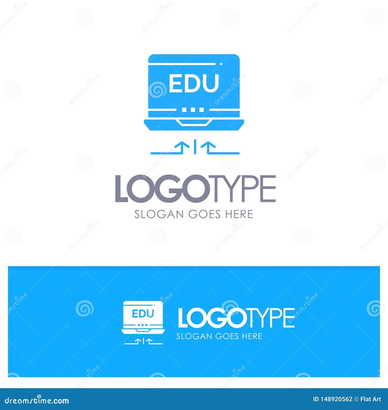 Laptop, Hardware, Arrow, Education Blue Logo vector