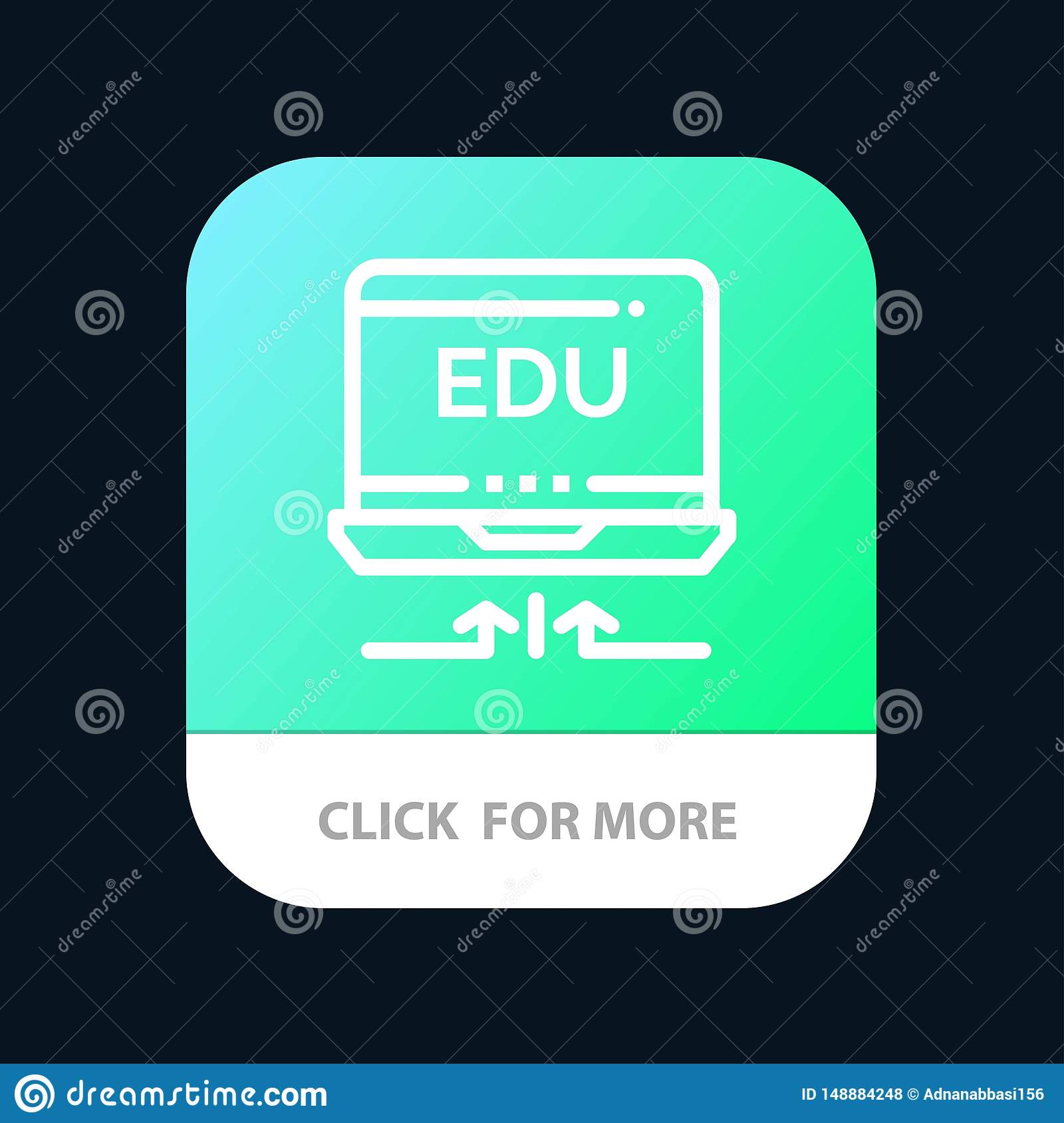 Laptop, Hardware, Arrow, Education Mobile App Button. Android and IOS Line Version