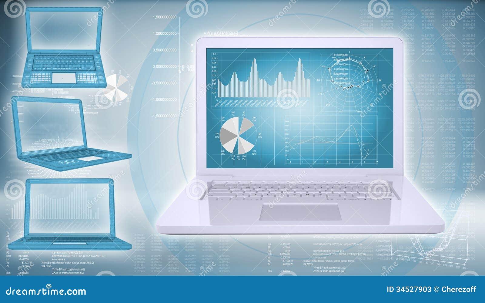 Technology Background Laptop: Laptop On A Hi-tech Background Stock Image