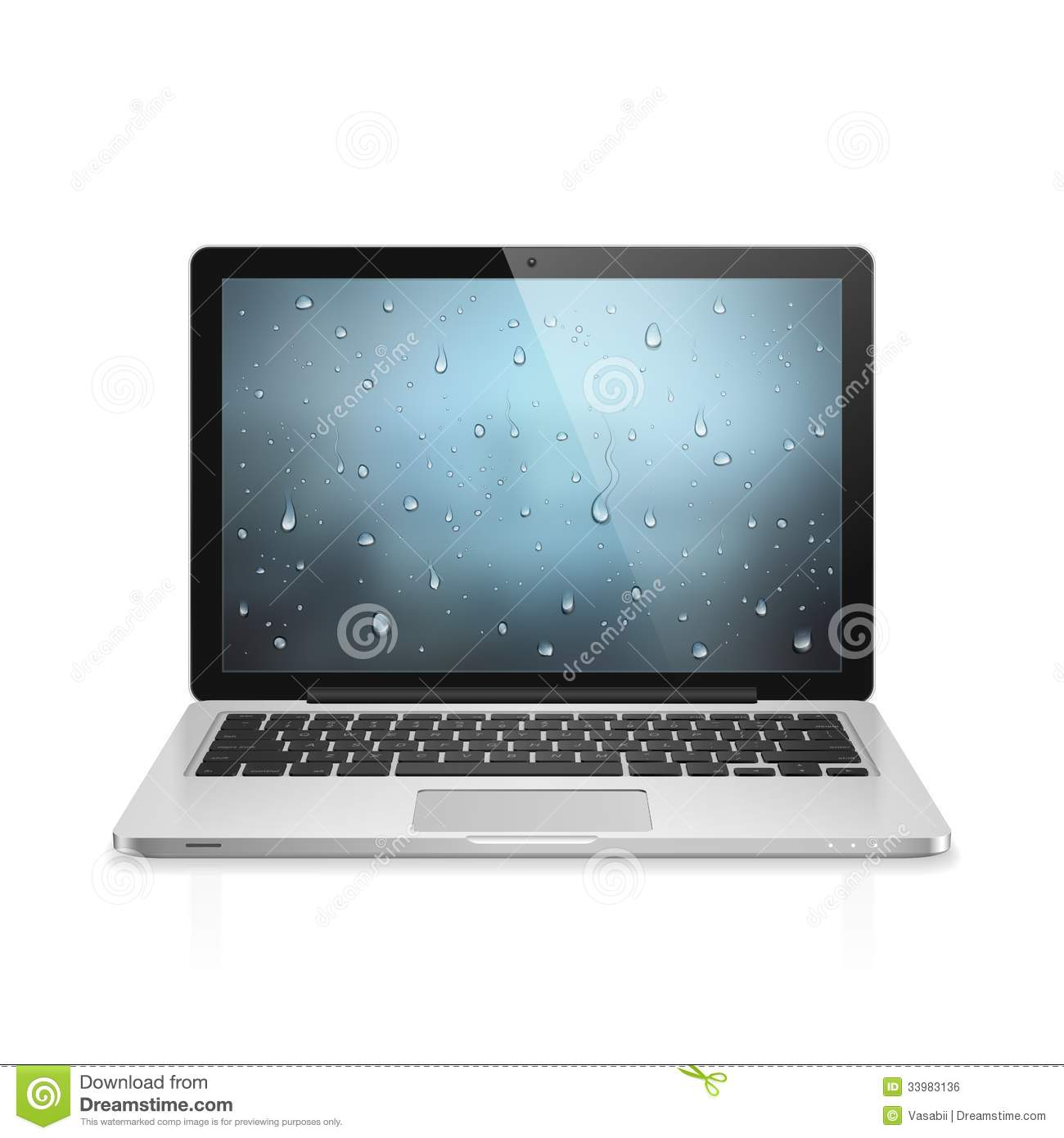 High detailed realistic vector illustration of modern laptop with