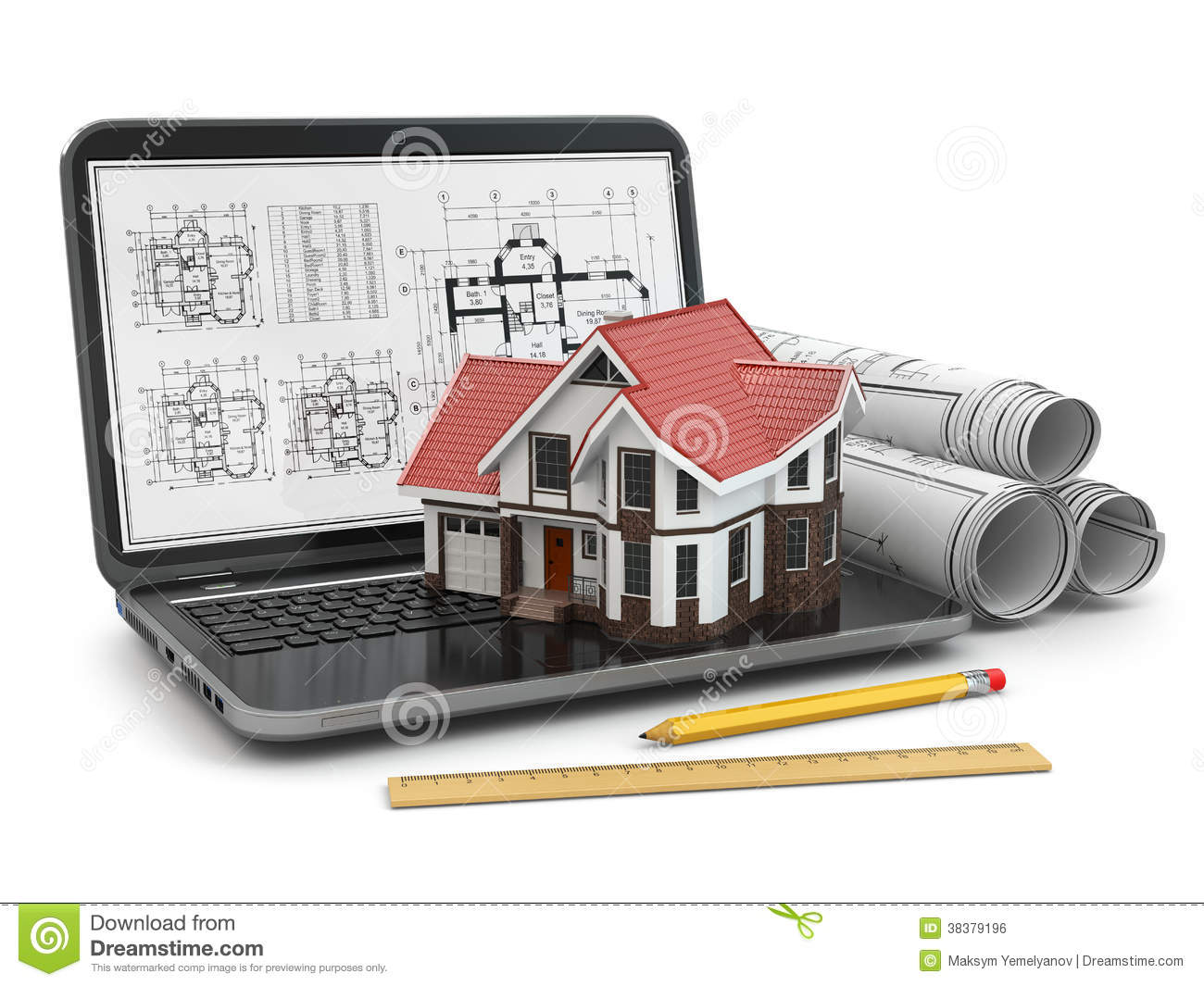 Laptop house and blueprint with project royalty free for House project online