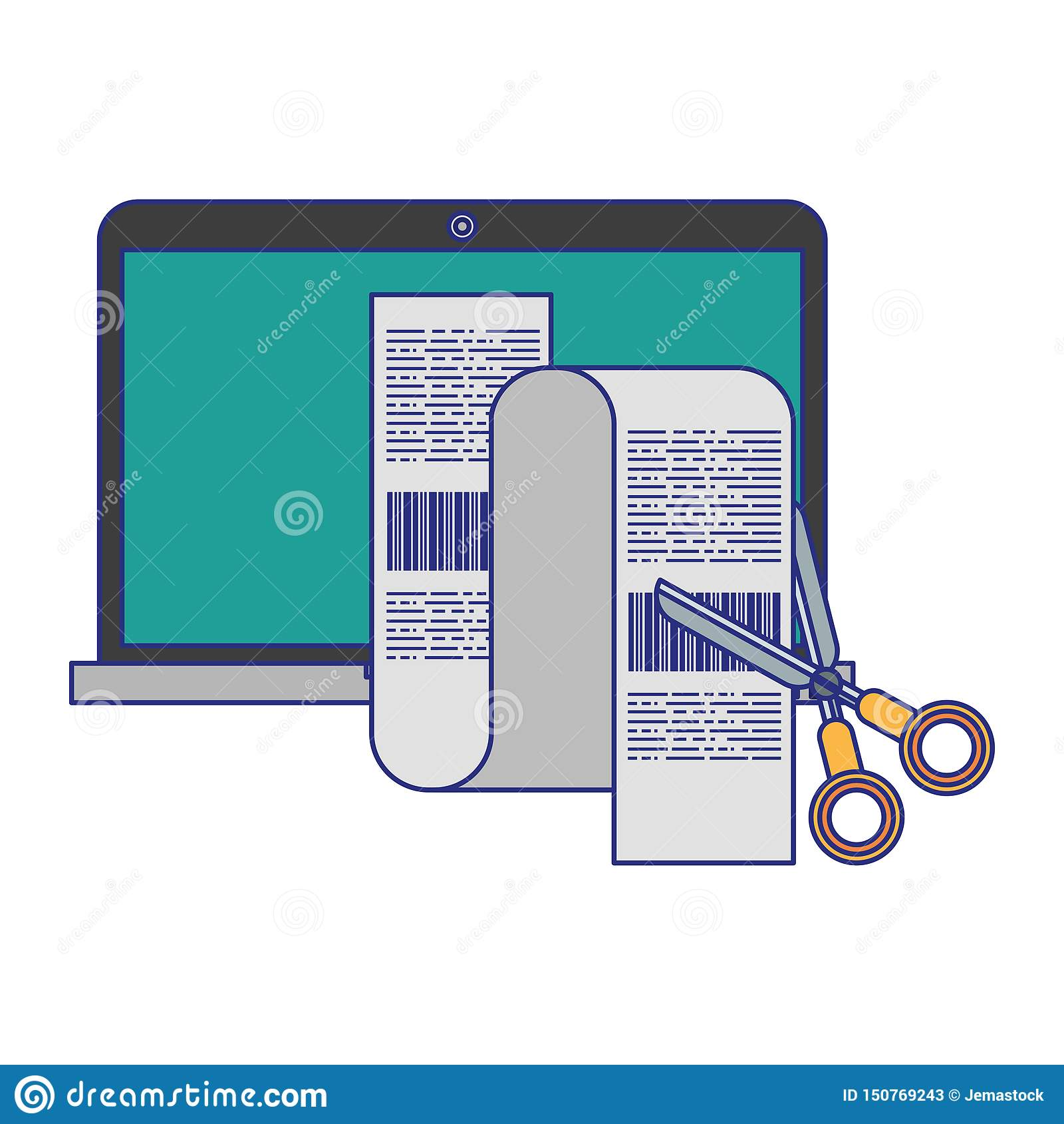 Laptop i nożyce ciie rachunek odosobnione niebieskie linie