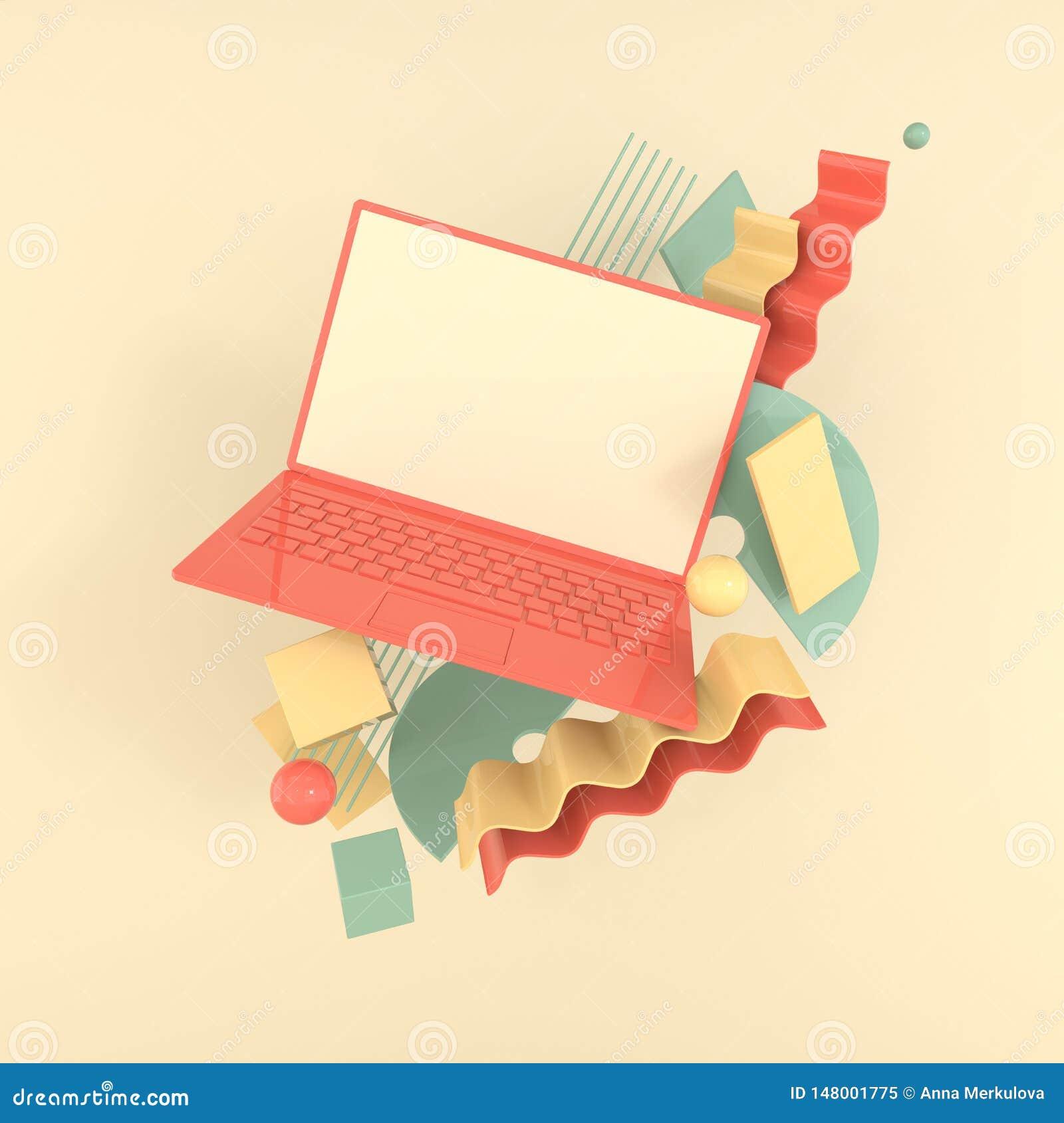 Laptop i różny geometryczny przedmiota mockup tło w nowożytnym minimalnym stylu Notatnik 3d odpłaca się w pastelowych kolorach te