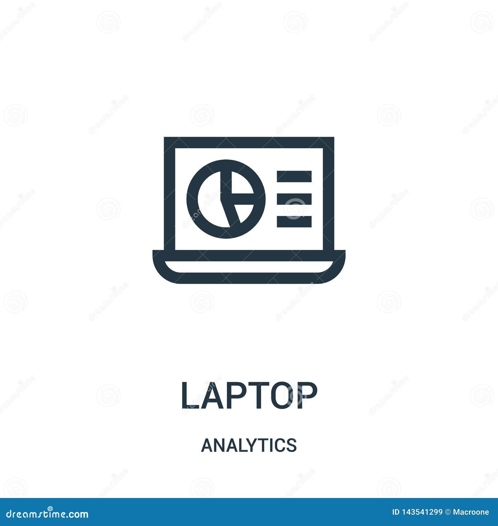 Laptop ikony wektor od analityka inkasowych Cienka kreskowa laptopu konturu ikony wektoru ilustracja