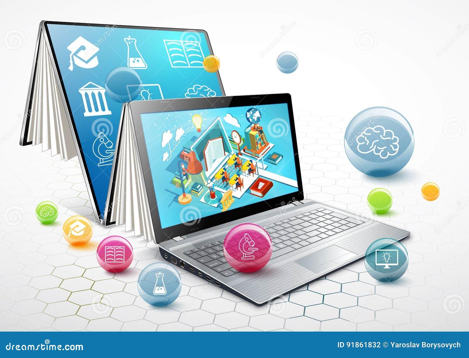 Laptop jako książka jabłczany tła książki ostrożnie pojęcie odizolowywający uczenie otwarty biel edukacja w sieci wektor
