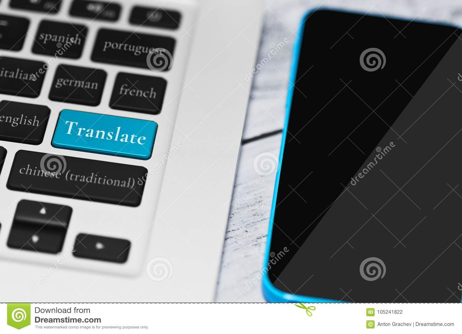 online translation via computer service concept stock photo image