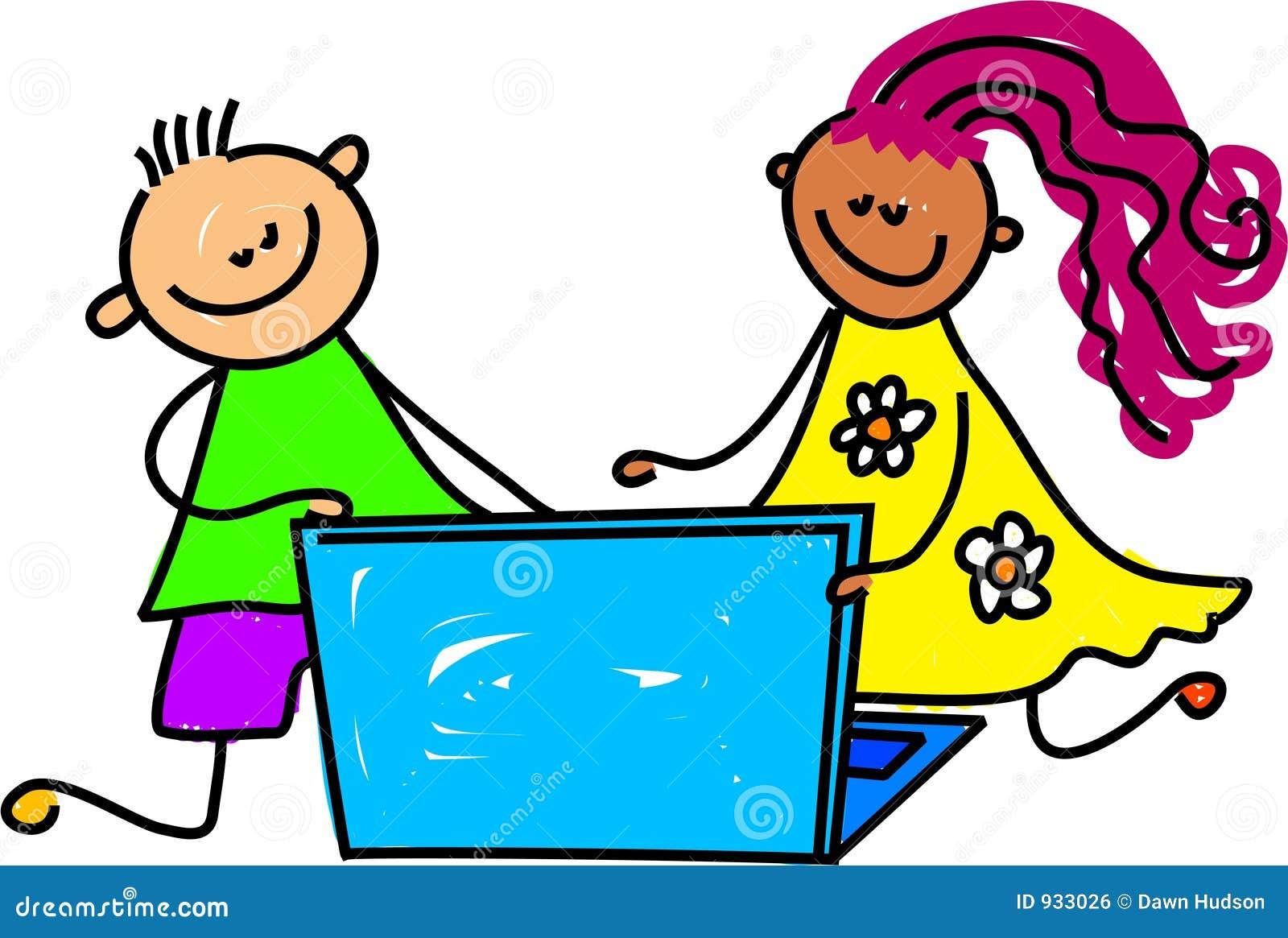 Laptop kids stock vector. Illustration of diversity ...