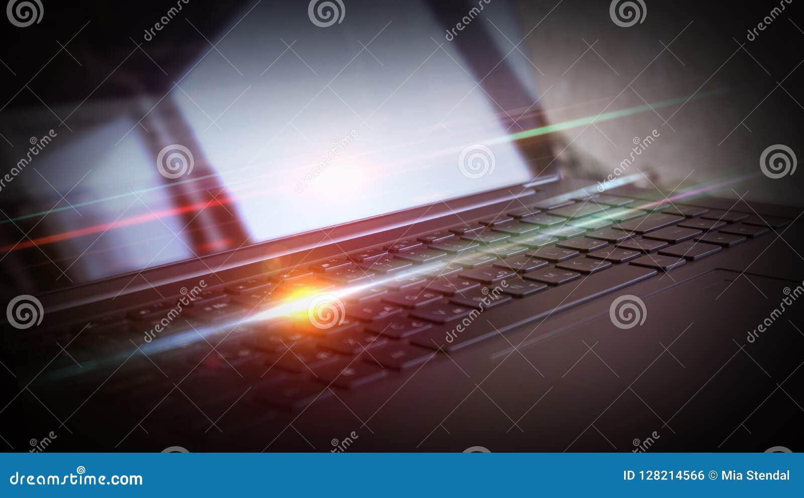 Laptop, klawiaturowy zakończenie, neonowy światło