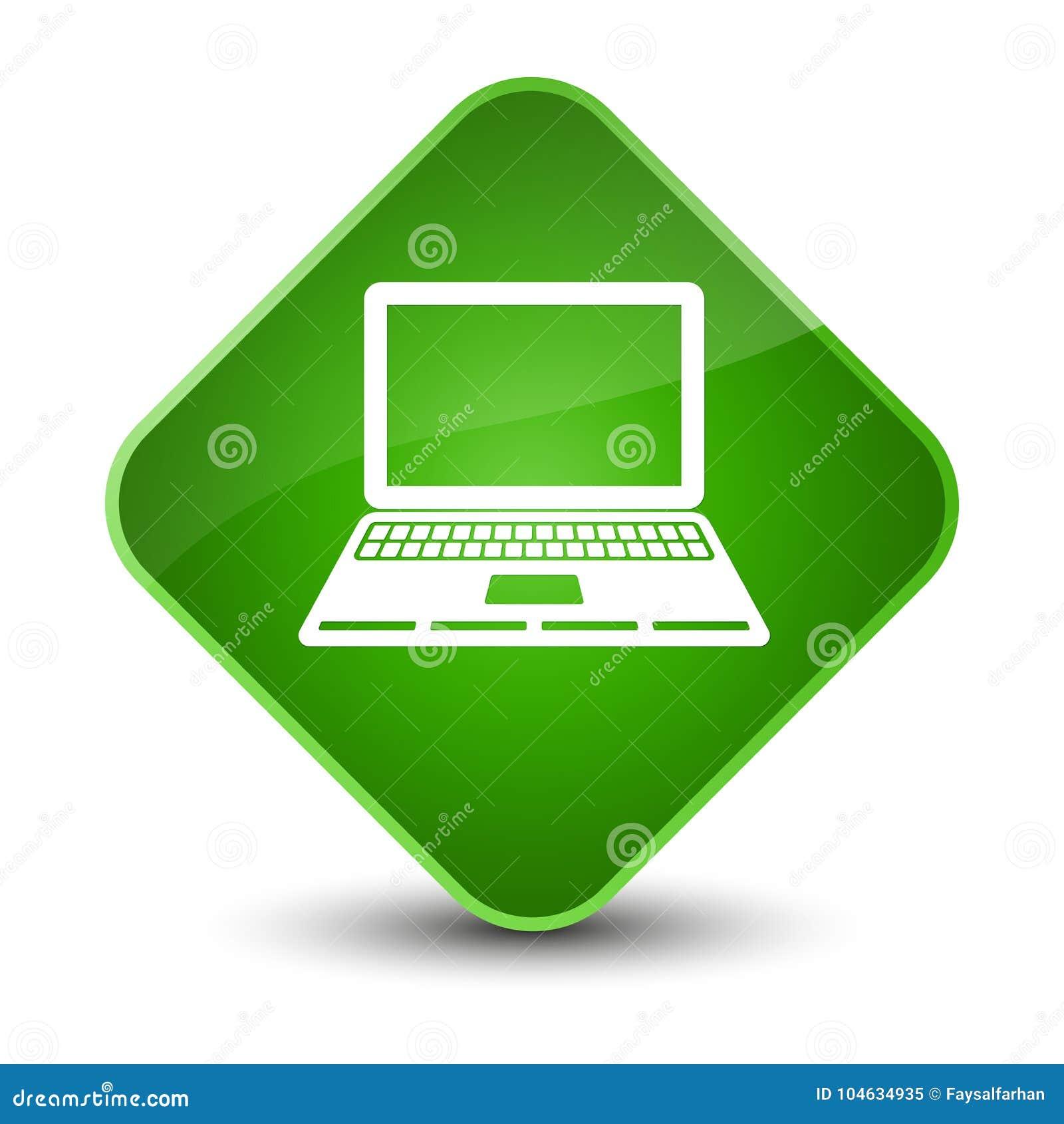 Download Laptop Knoop Van De Pictogram De Elegante Groene Diamant Stock Illustratie - Illustratie bestaande uit elegant, teken: 104634935