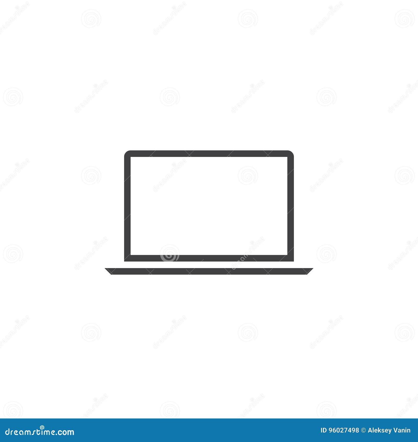 Laptop kreskowa ikona, konturu loga wektorowa ilustracja, liniowy picto