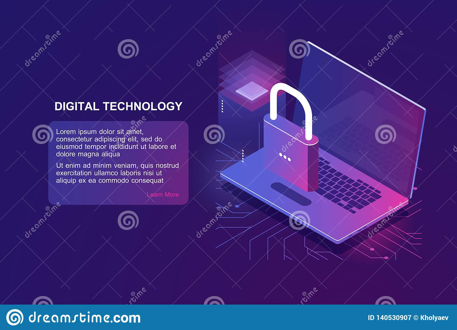 Laptop with lock, computer security isometric icon, data protection, safety in internet, protection personal information