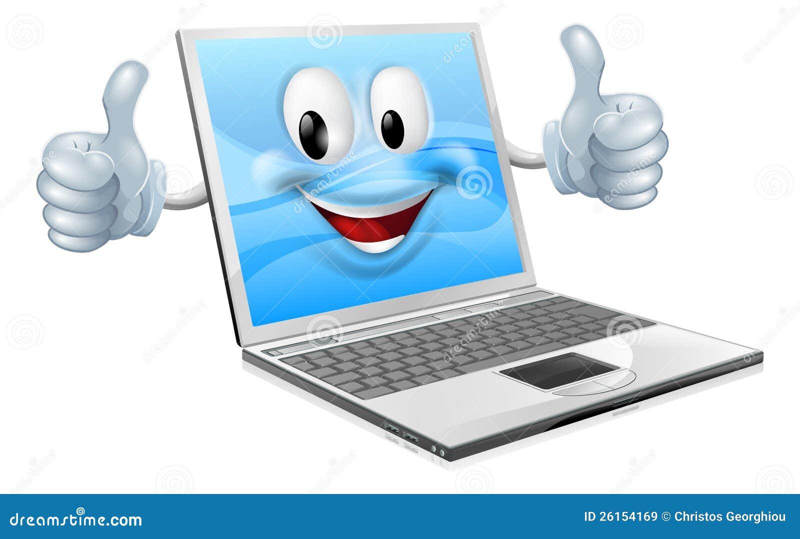 Laptop Mascot Man Stock Vector. Illustration Of Clipart