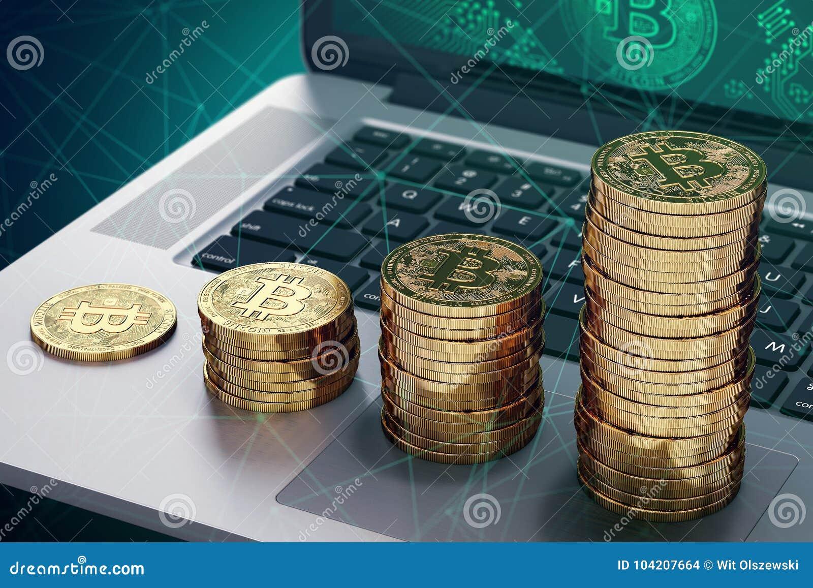 Laptop met Bitcoin-embleem stapels op scherm en het groeien van gouden Bitcoin