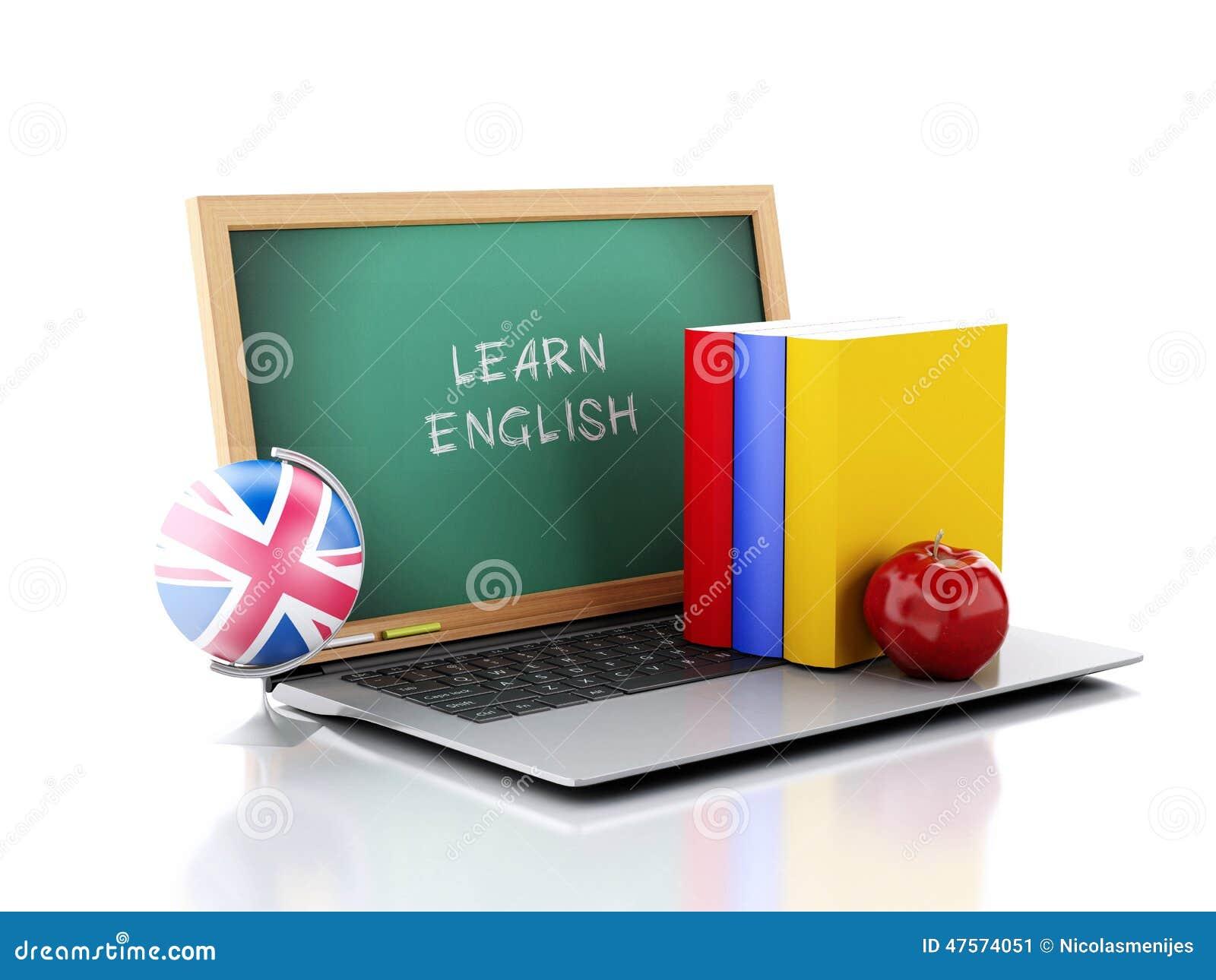 Laptop met bord Leer Engels concept 3D Illustratie