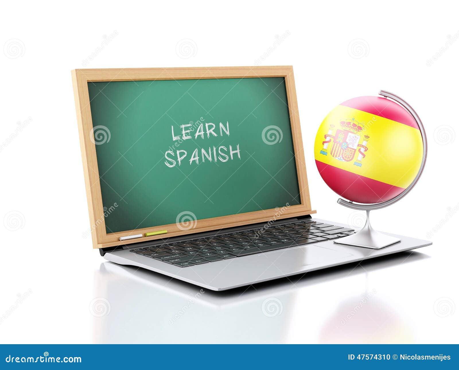 Laptop met bord met leert Spaanse teksten 3D Illustratie