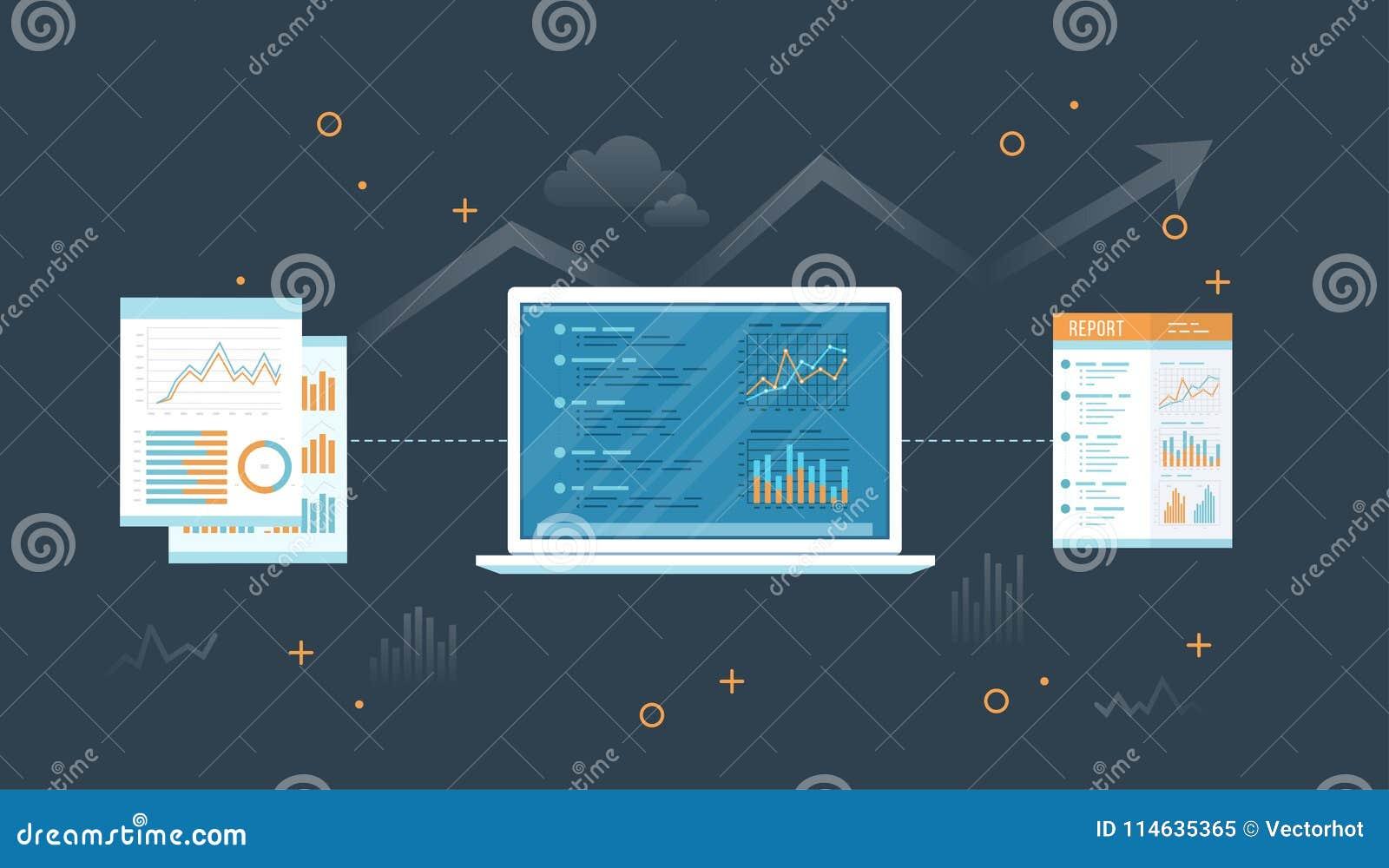 Laptop met documenten en rapport Informatie met grafieken en grafieken over het scherm Financiële Controle rapportering Controle,