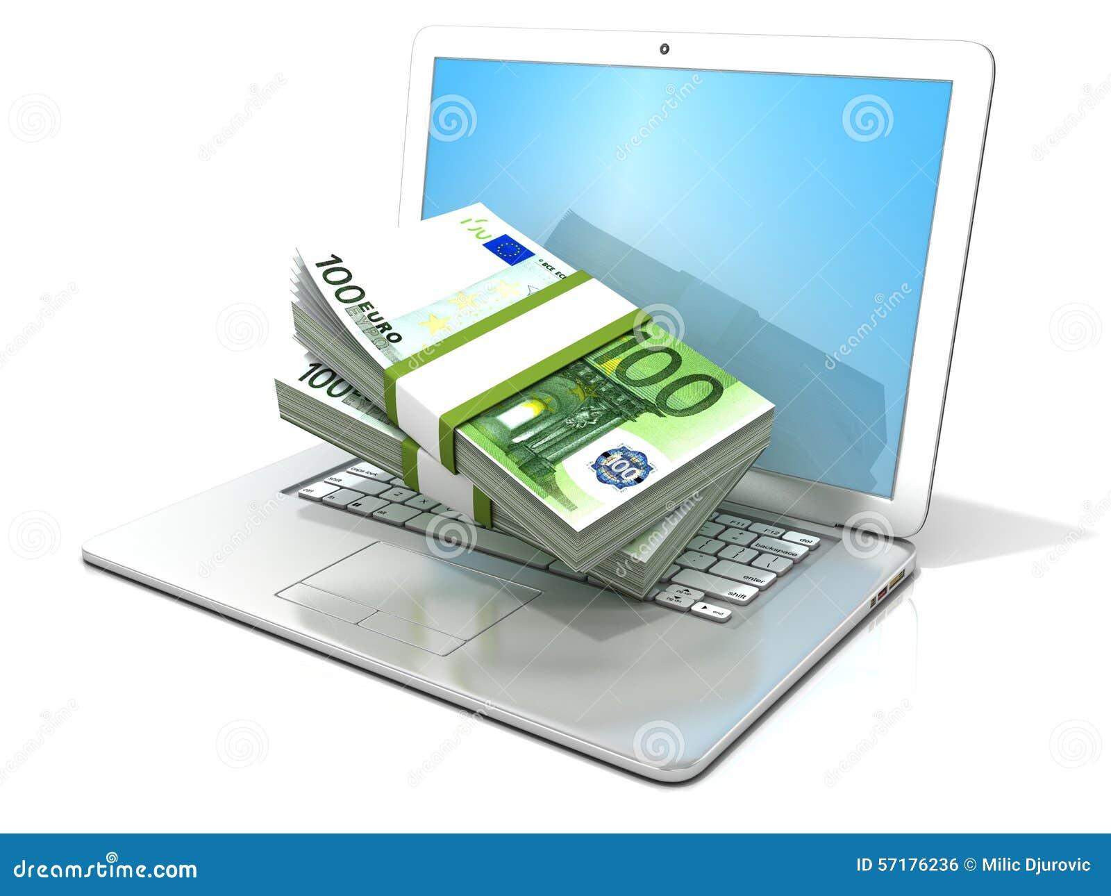 Laptop met stapels honderdeneuro het 3D teruggevende - concept online zaken - verdienen, bankwezen en winkelen