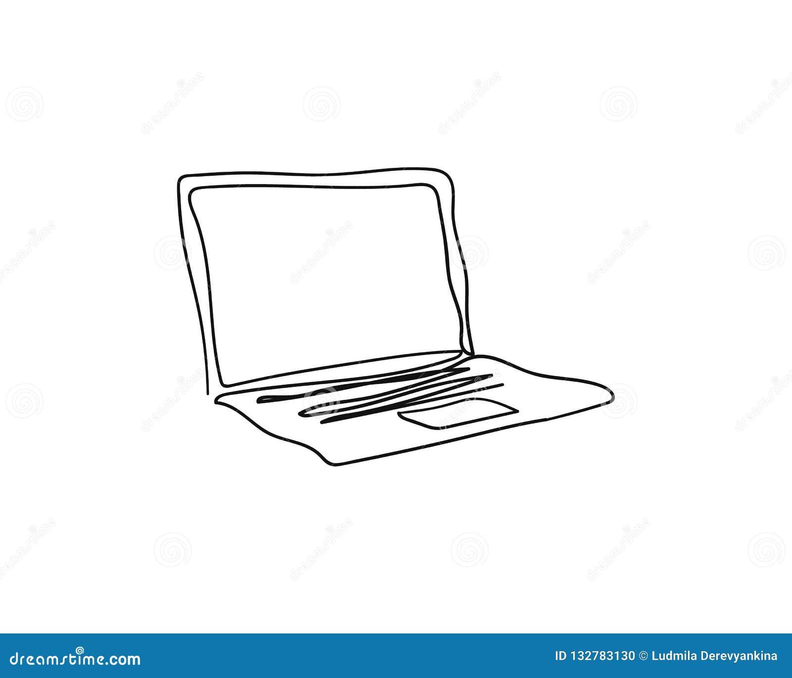 Laptop mit einer ununterbrochenen Kunstzeichnung der einzelnen Zeile