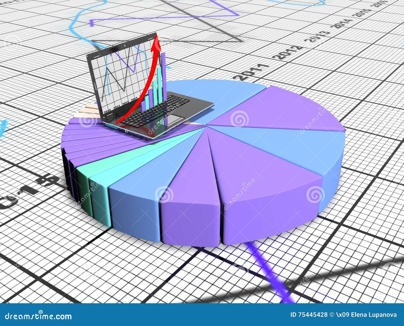 Laptop mit Geschäfts- oder Gewinnwachstumsbalkendiagramm, 3d übertragen
