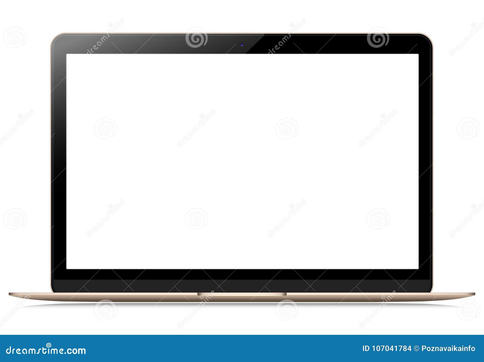 Laptop mit leerem Bildschirm auf lokalisiertem weißem Hintergrund, Ihr Anwendungsdesign vorlegen