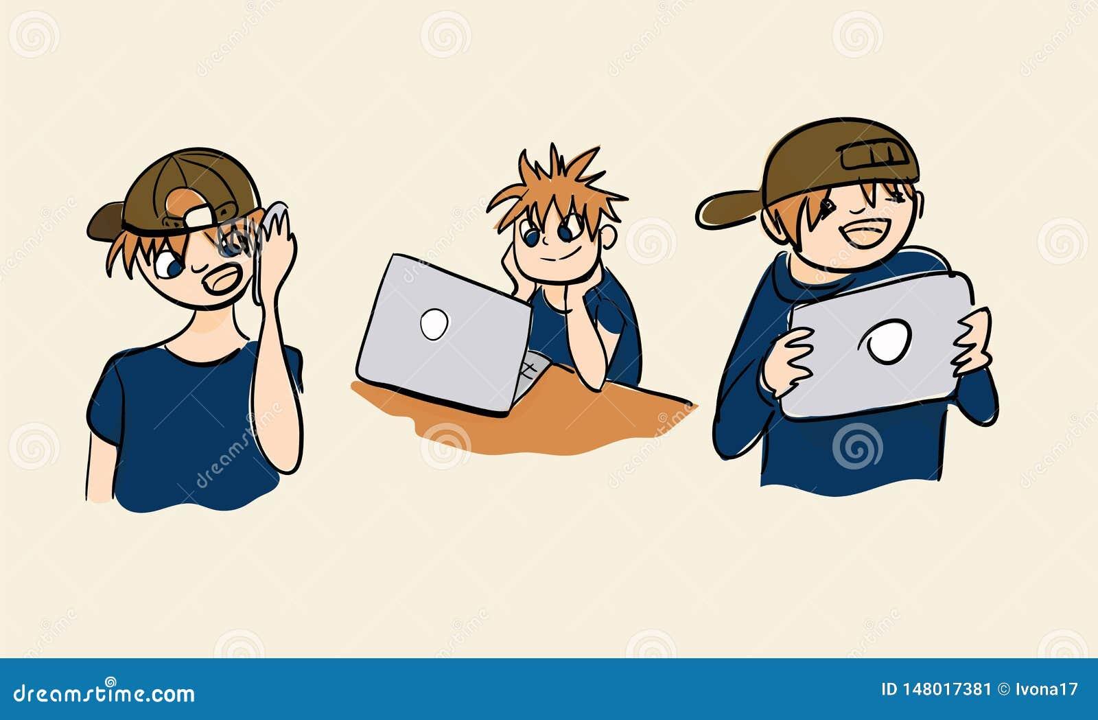 Laptop mobiele telefoonlijst de illustratiereeks van de nieuwe technologiejongen
