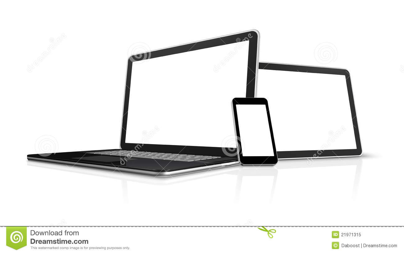3D laptop, mobile phone and digital tablet pc computer - isolated on ...