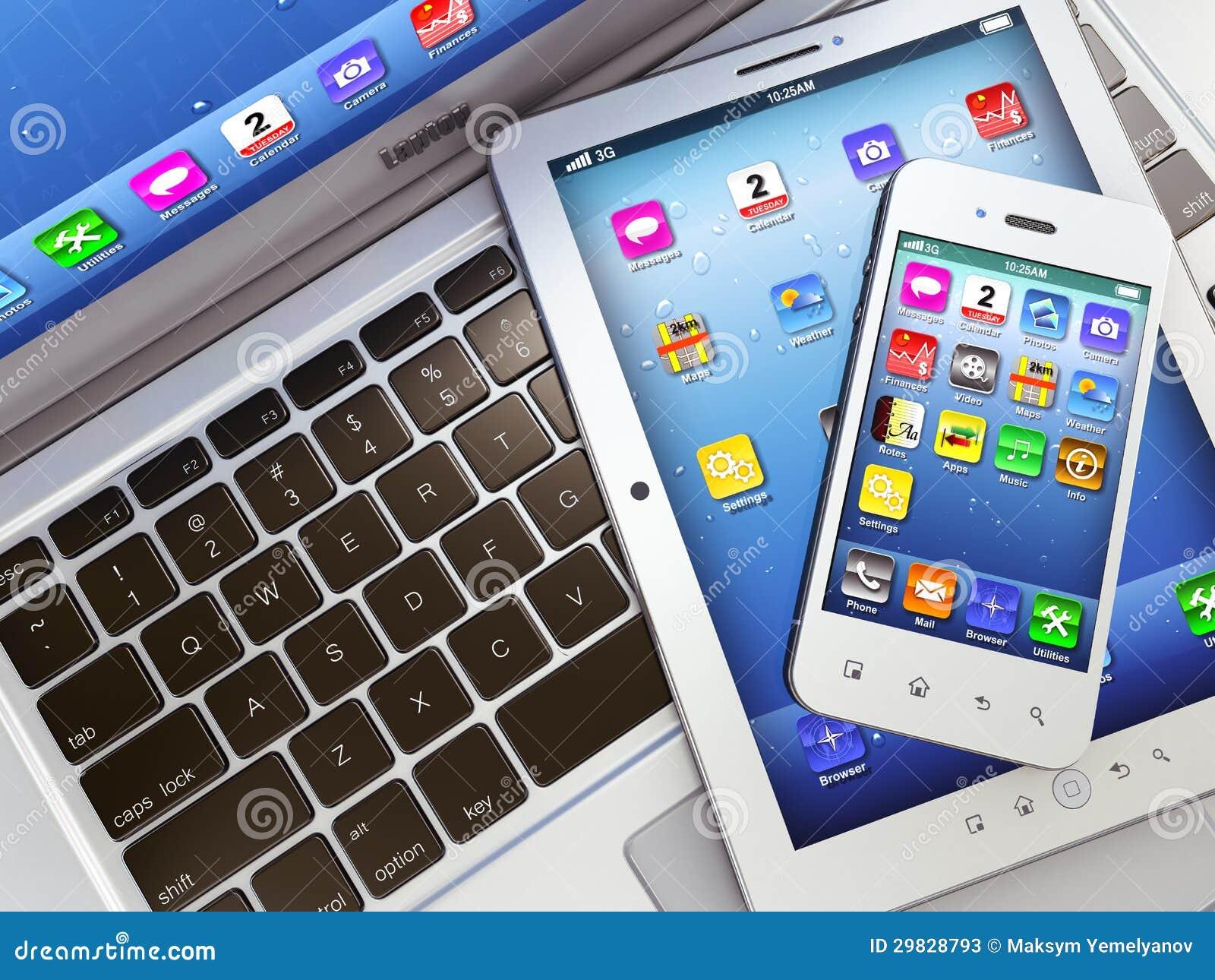 laptop mobile phone and digital tablet pc stock photos. Black Bedroom Furniture Sets. Home Design Ideas