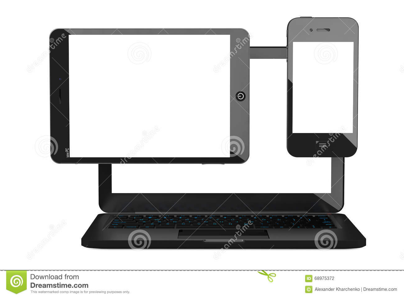 Laptop, Mobile Phone and Tablet PC. 3d rendering