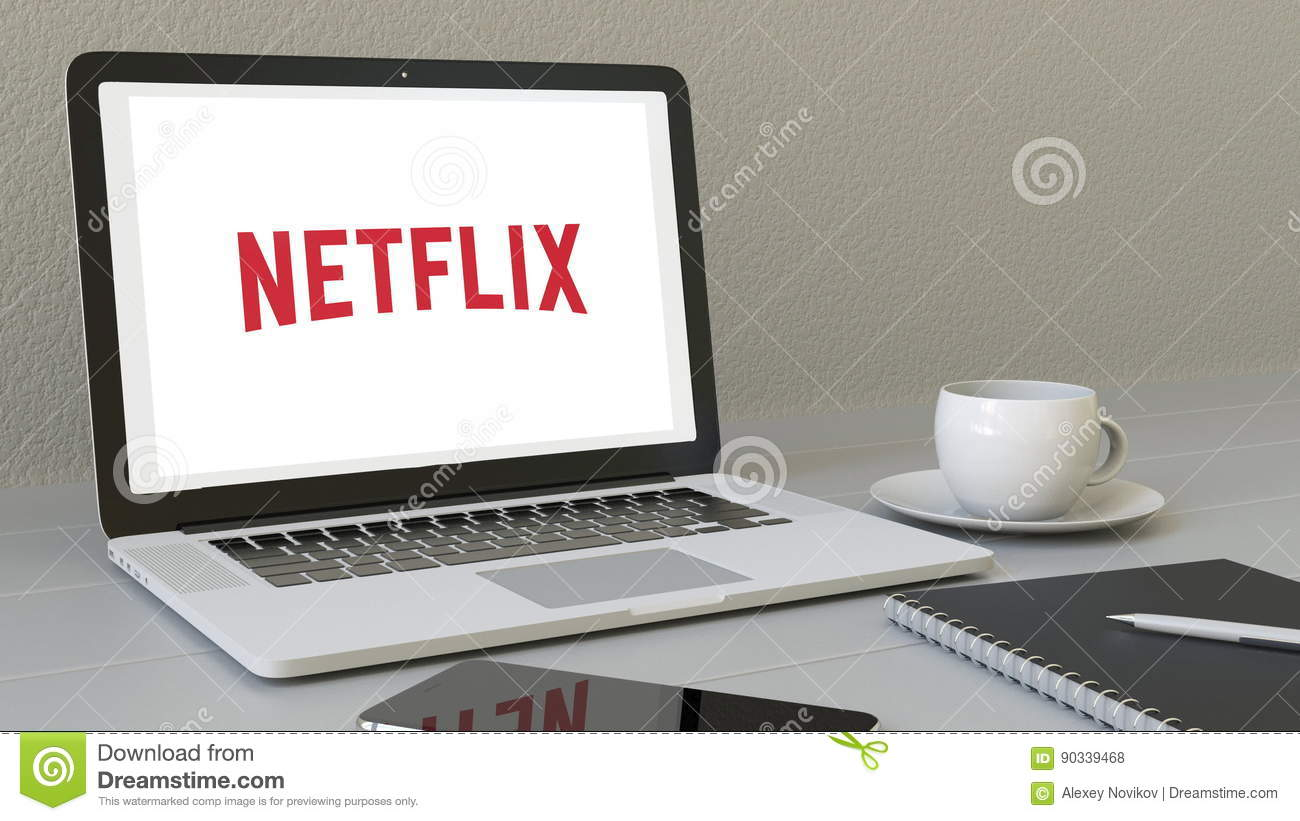 Laptop with Netflix logo on the screen. Modern workplace conceptual editorial 3D rendering