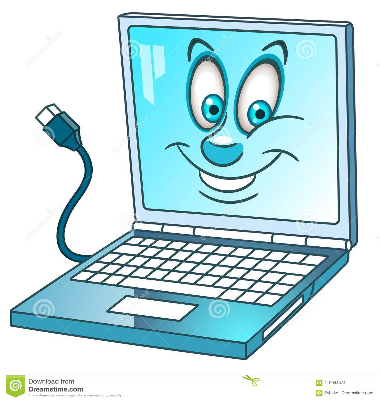 Cartoon Laptop Or Notebook Computer Stock Vector - Illustration of ...