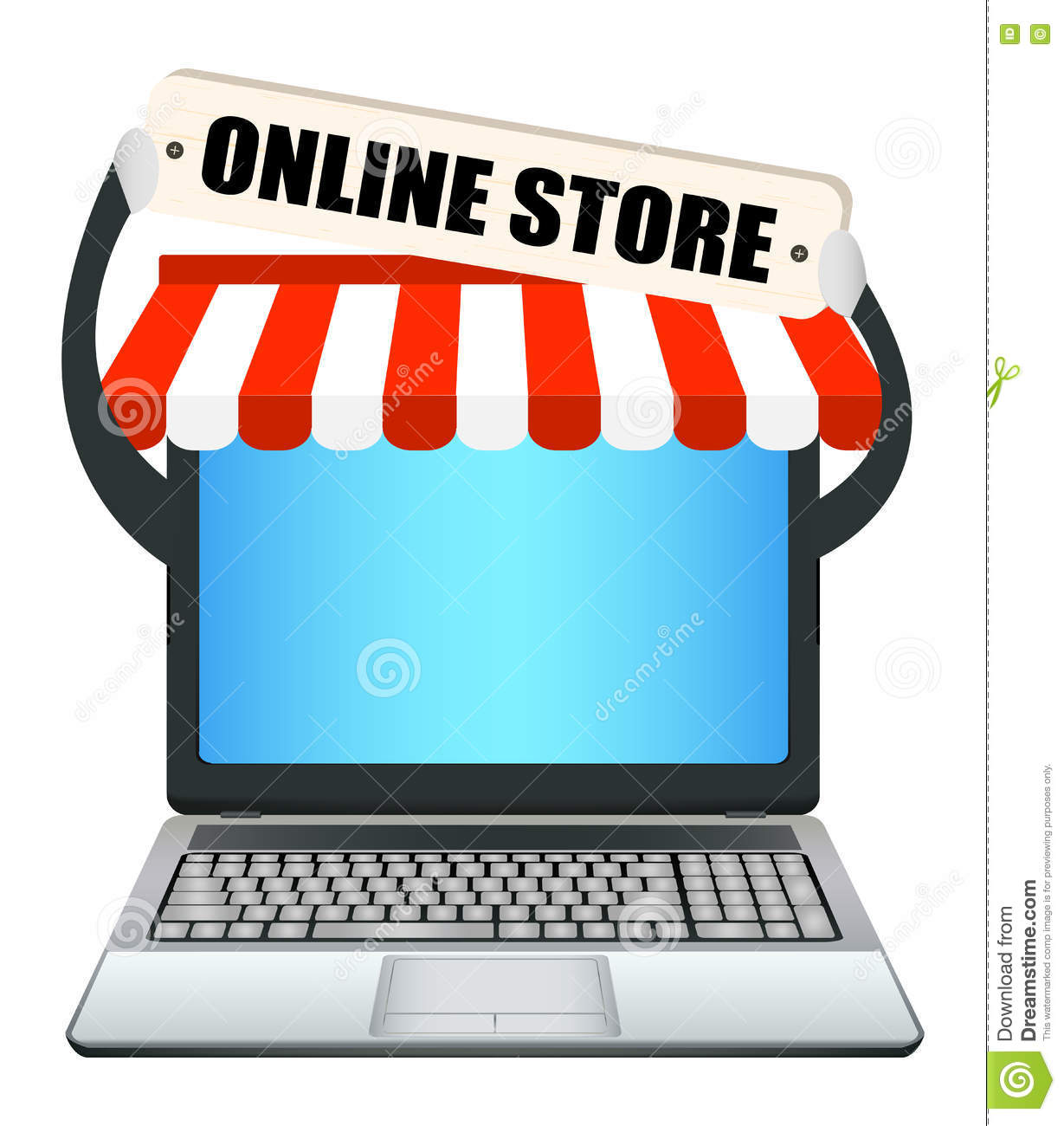 Laptop with online store banner stock illustration image for Online art stores us