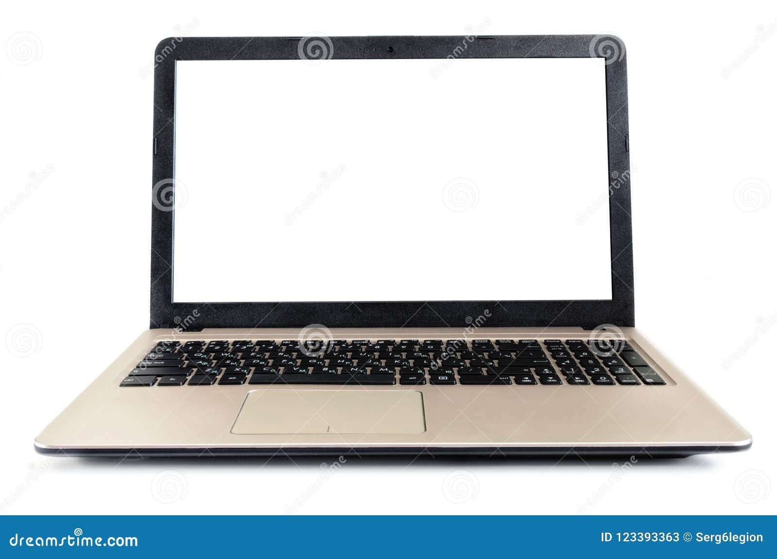 Laptop op een witte achtergrond met een schaduw wordt geïsoleerd die