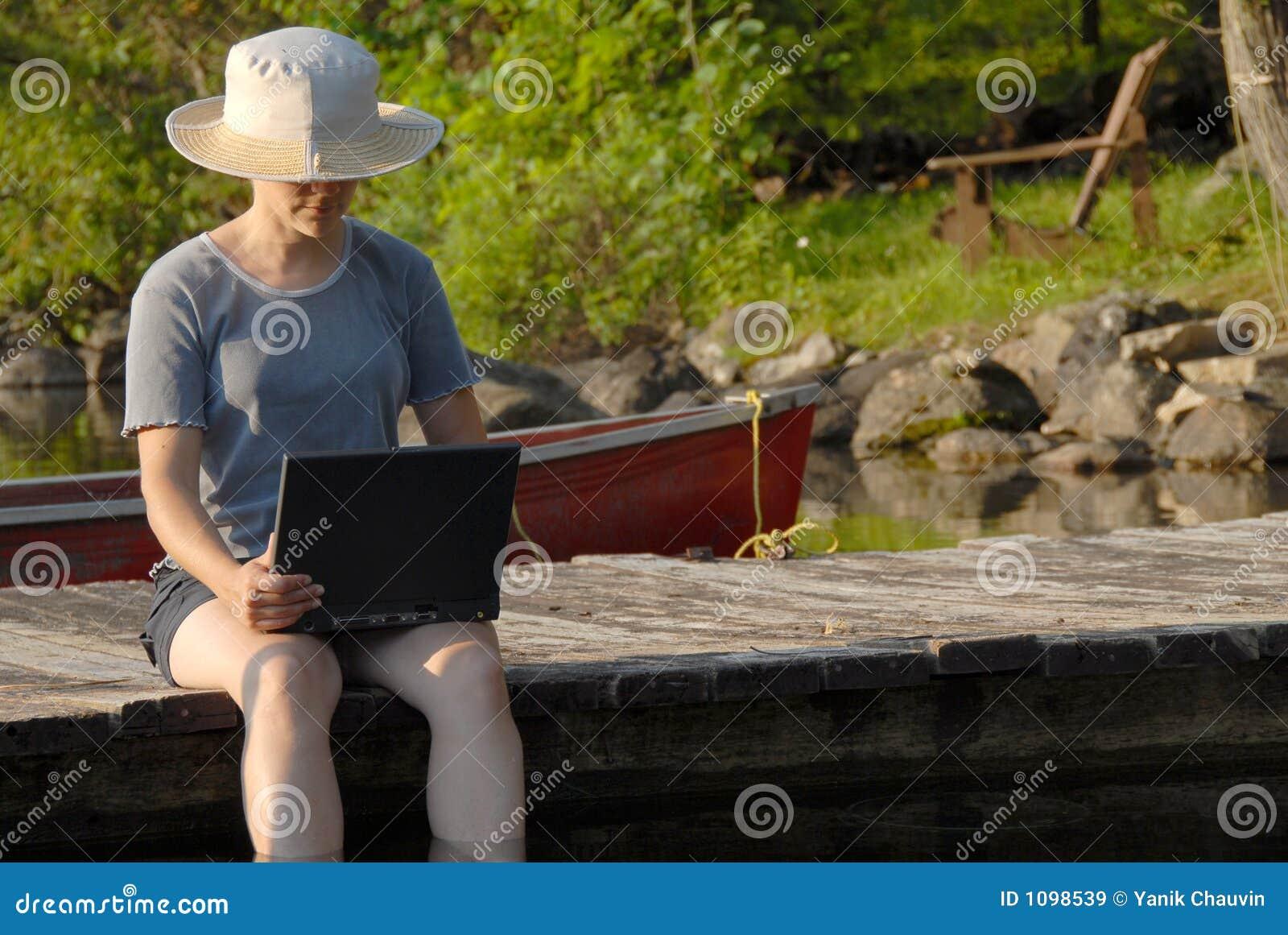 Laptop op het dok