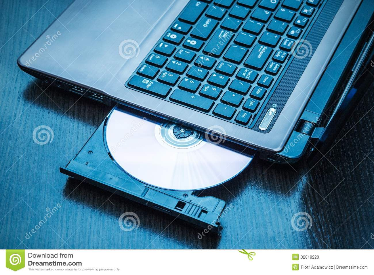 laptop with open cd dvd drive stock photo image of keyboard