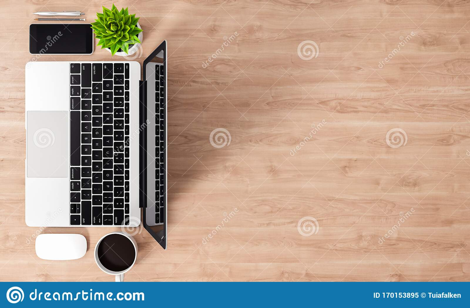 Laptop And Other Devices On Wood Office Desk Top View Copy Space 3d Rendering Stock Illustration Illustration Of Accessory Information 170153895