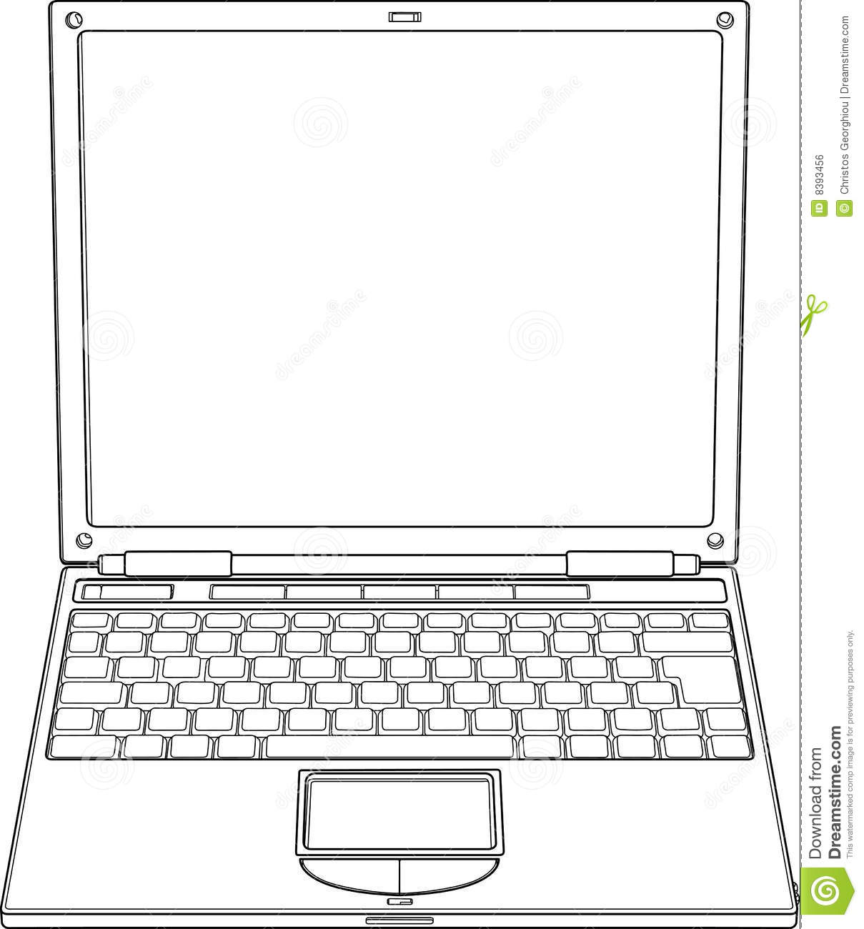 Laptop Outline Vector Illustration Royalty Free Stock Image - Image ...