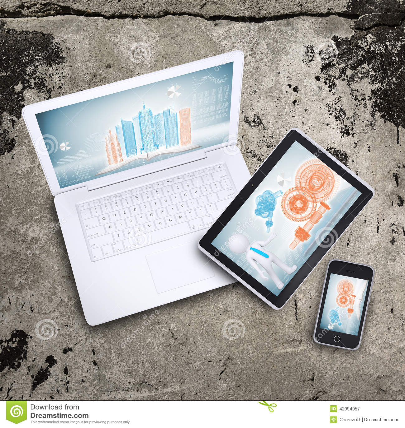 Laptop, pastylka komputer osobisty i mądrze telefon,