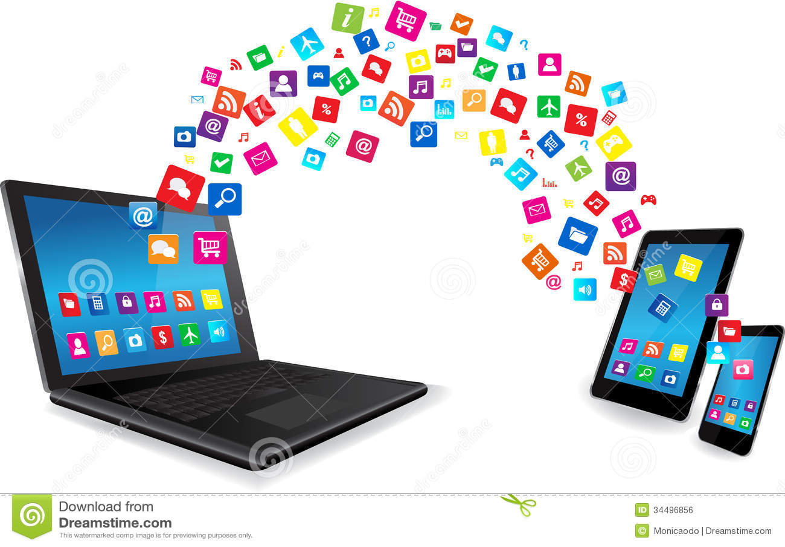 Laptop, pastylka pecet i Mądrze telefon z Apps,