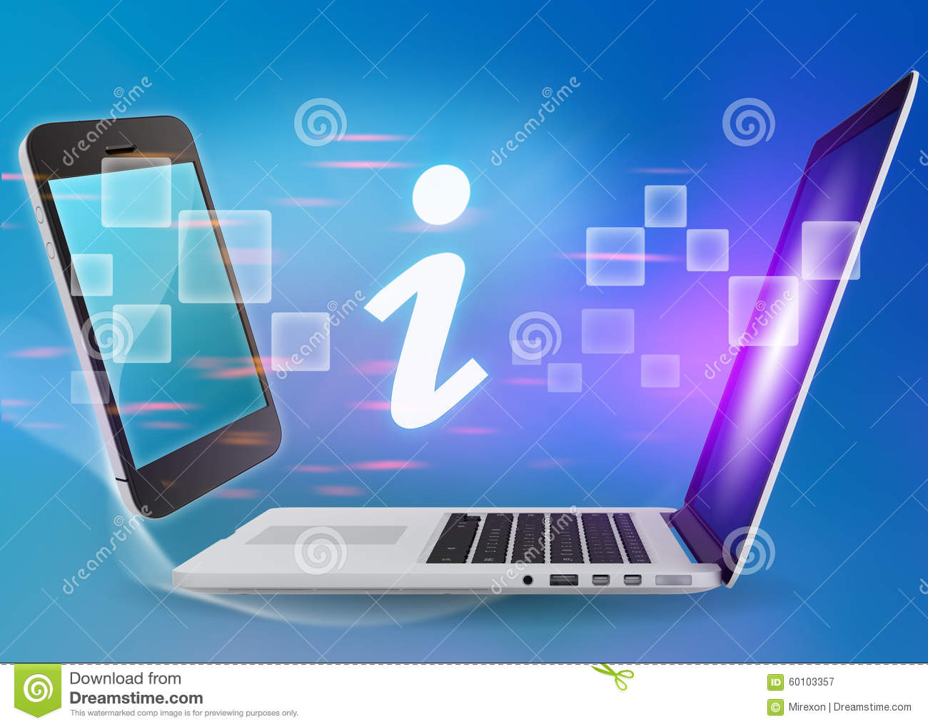 Laptop And Phone With Information Icon On A Blue Stock