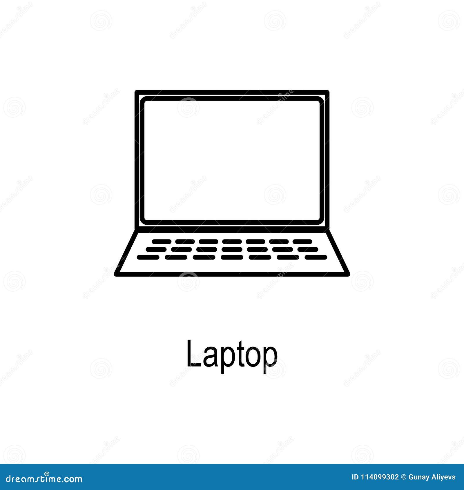 Laptop Pictogram Element van computerdeel voor mobiel concept en Web apps Dun lijnpictogram voor websiteontwerp en ontwikkeling,