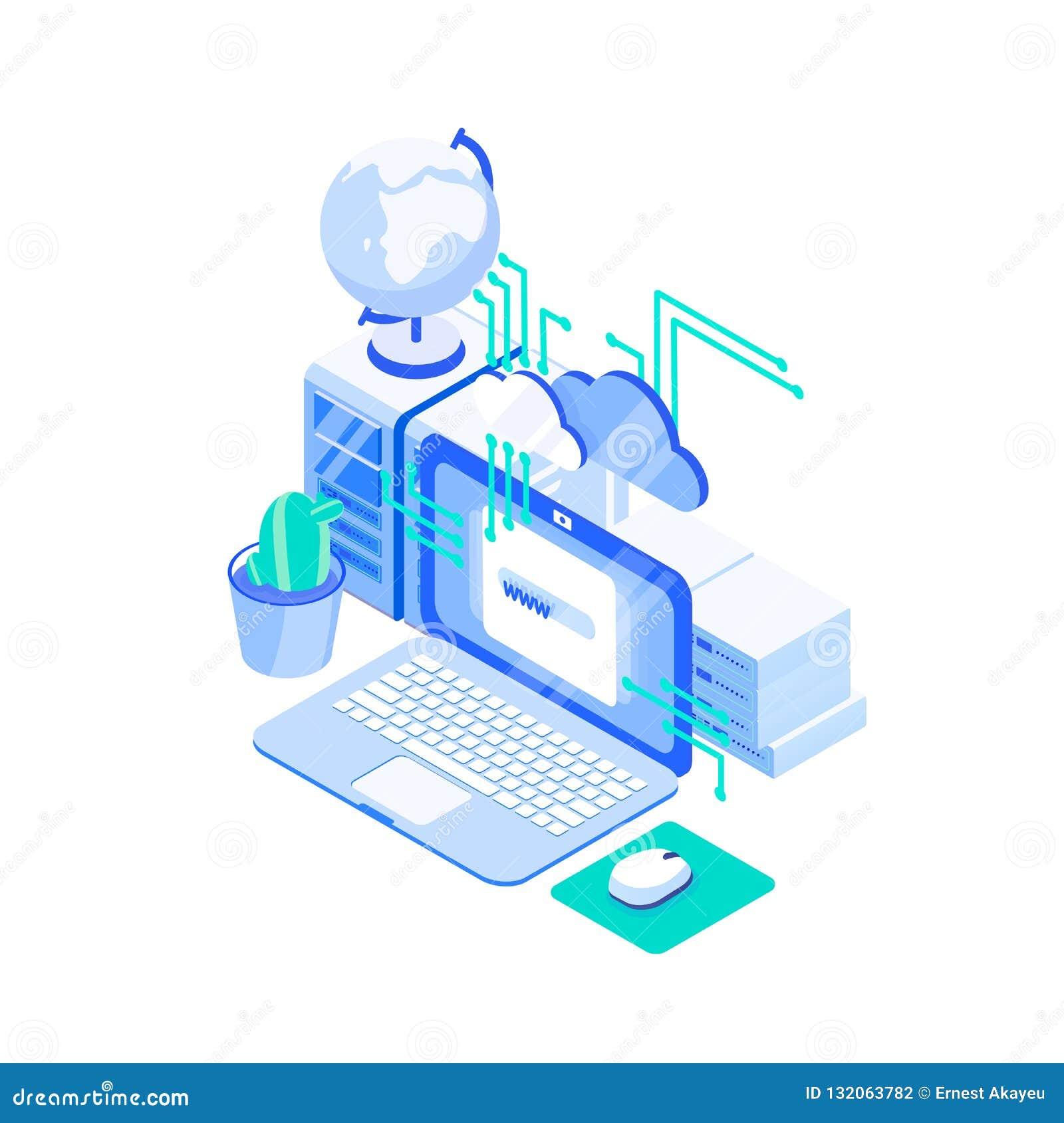 Laptop, pilha de servidores e globo Web ou Internet que hospedam a tecnologia, serviço de assistência em linha do Web site, nuvem