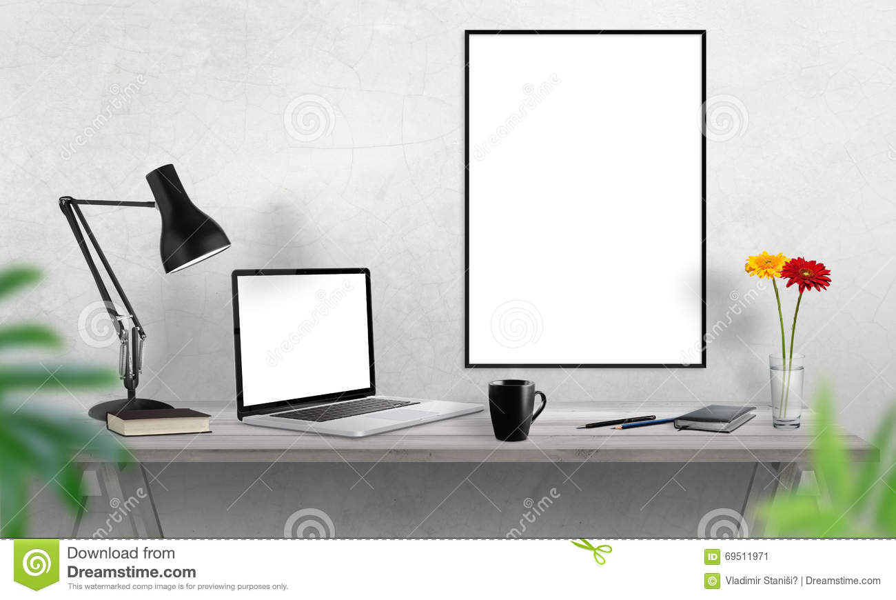 Laptop and poster frame on office desk coffee cactus notebook laptop and poster frame on office desk coffee cactus notebook lamp on table geotapseo Image collections
