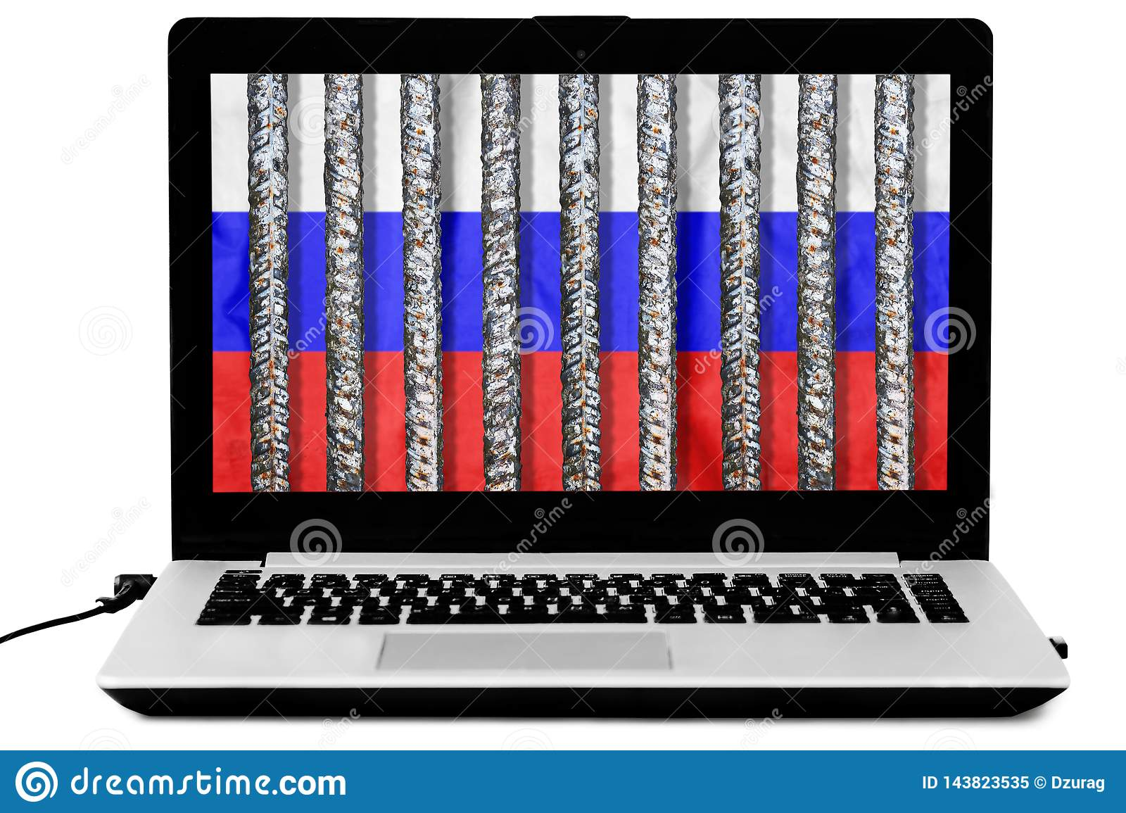 Laptop with prison grate and a russian flag on the screen isolated on white background