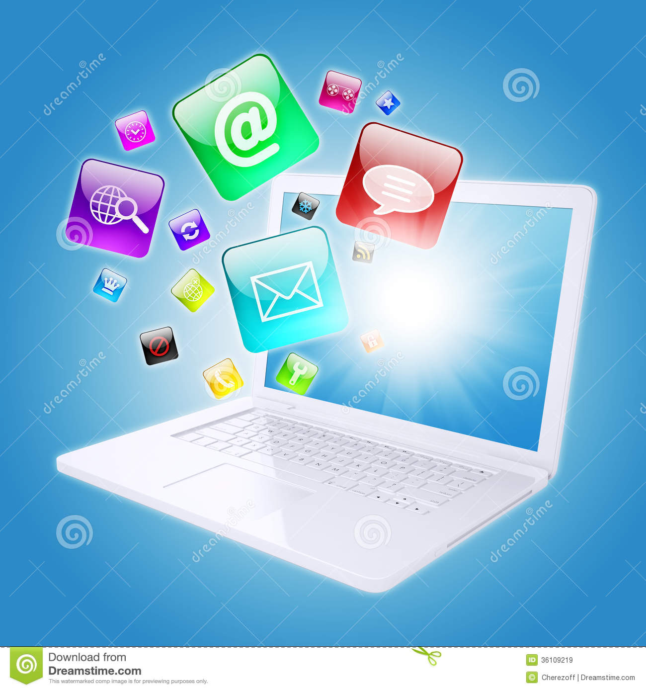 Laptop And Program Icons Royalty Free Stock Images - Image ...
