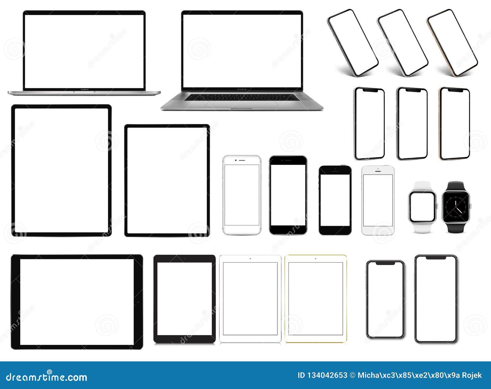 Laptop prosmartwatchreeks van de smartphonetablet apparaten met leeg het schermmalplaatje
