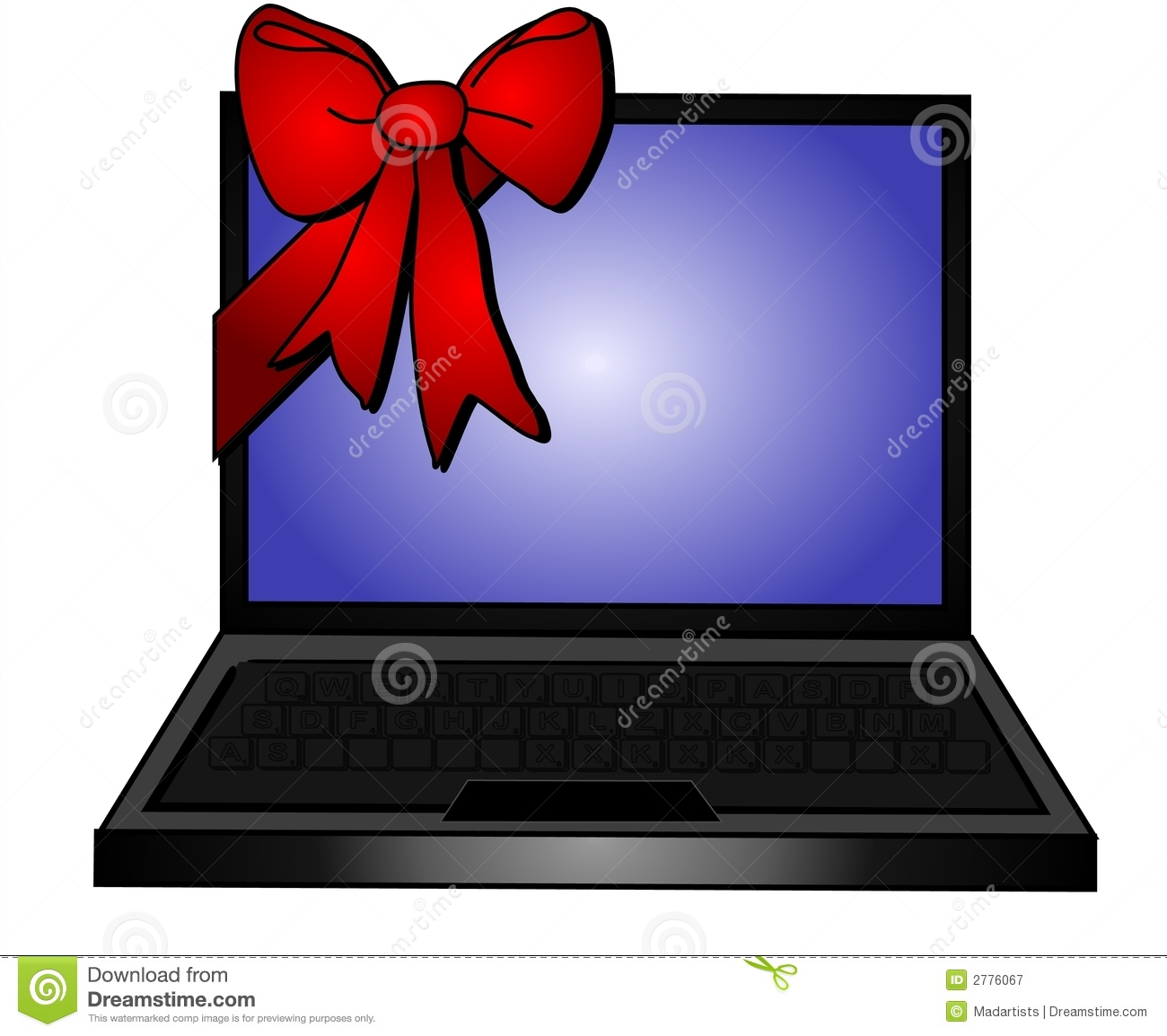 laptop red bow gift promotions stock illustration