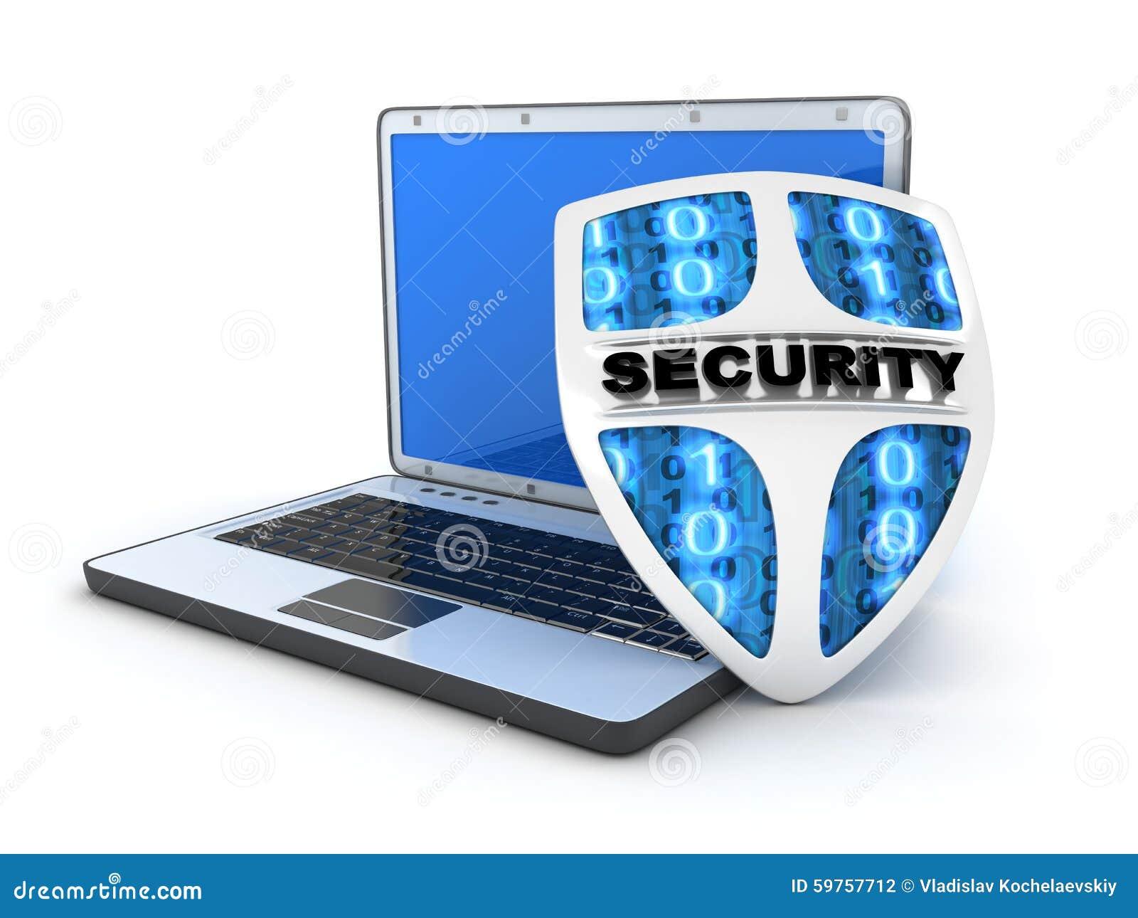 Laptop And Shield Antivirus Stock Illustration