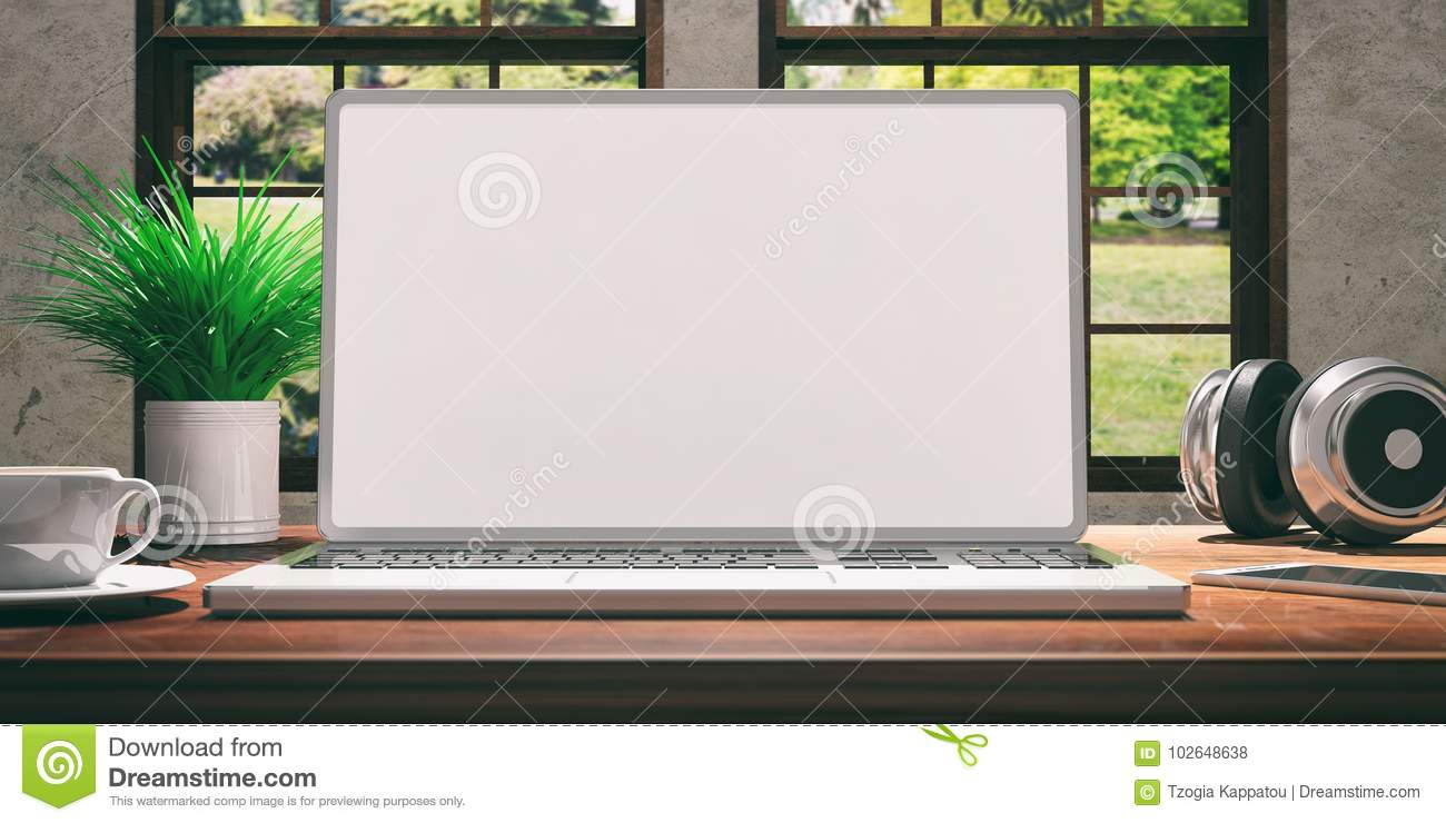 Superb Laptop With White Screen On Wooden Desk At Home Beautiful Download Free Architecture Designs Lukepmadebymaigaardcom