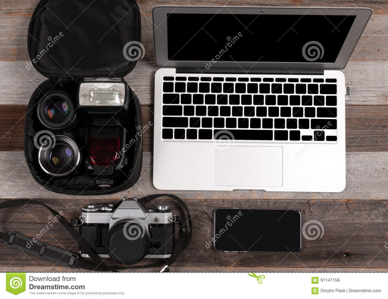 Laptop Smart Phone Photo Camera And Headset On Wooden Background Stock Photo Image Of Photographing Organizer 91147158